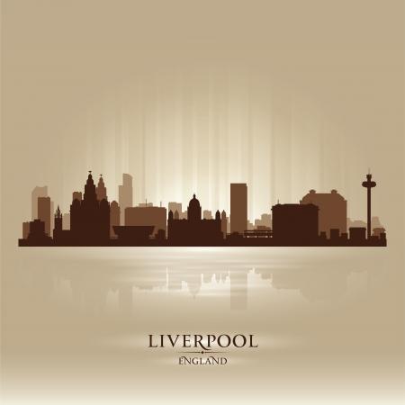 liverpool: Liverpool England skyline city silhouette