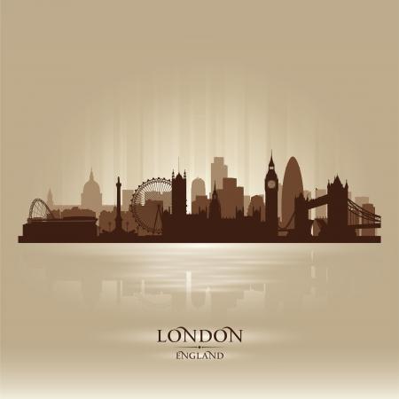 london: Londen Engeland skyline silhouet Stock Illustratie