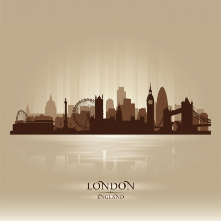 London England skyline city silhouette Illustration
