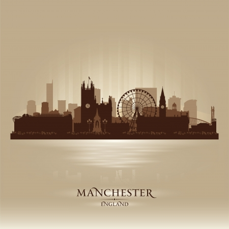 Manchester England skyline city silhouette Stock Vector - 18386261