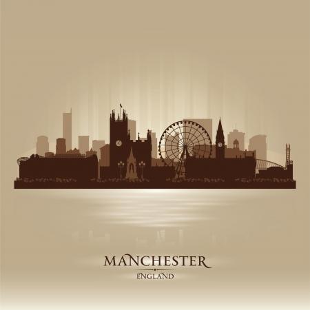 manchester: Manchester England skyline city silhouette Illustration