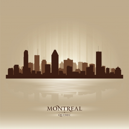 quebec: Montreal Quebec skyline city silhouette  Vector illustration