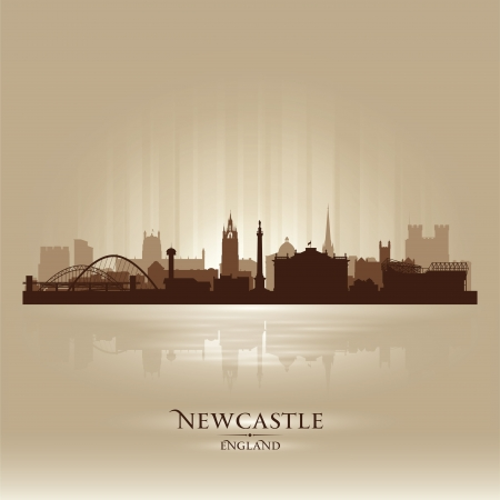 Newcastle England skyline city silhouette Stock Vector - 18386228