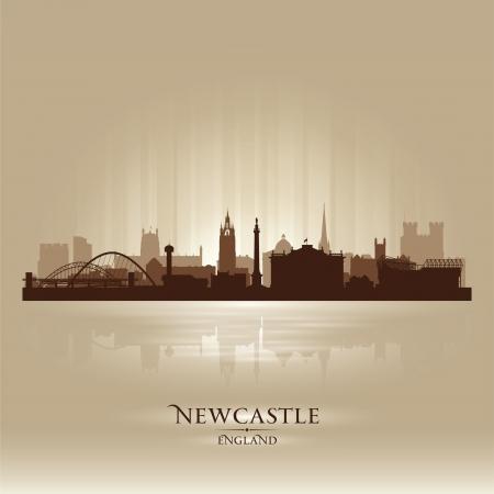 Newcastle England skyline city silhouette Stock Vector - 18386228