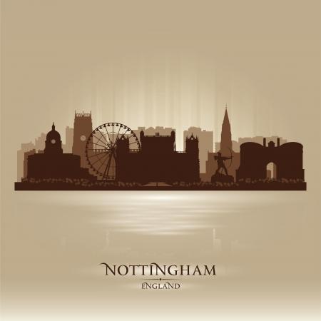 Nottingham England skyline city silhouette Stock Vector - 18386260