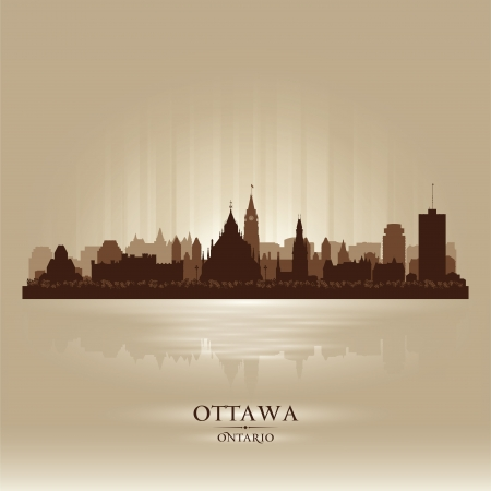 Ottawa Ontario skyline city silhouette  Vector illustration Vector