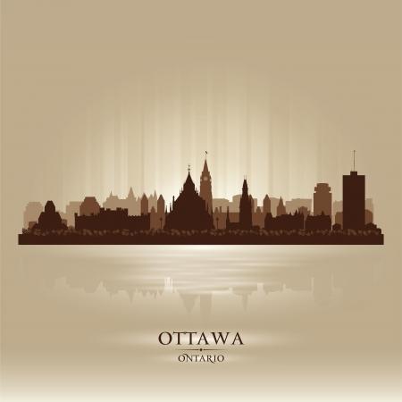 ontario: Ottawa, Ontario skyline della citt� silhouette, vettore, illustrazione
