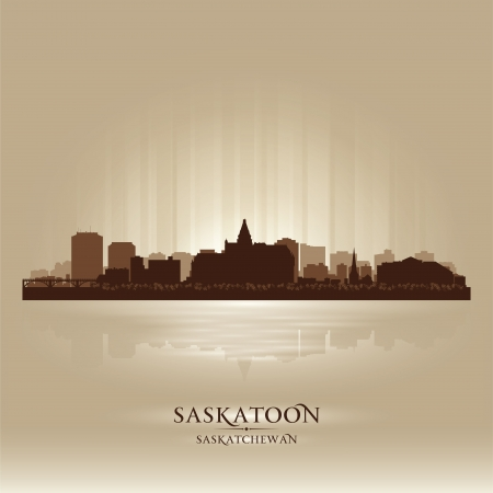 Saskatoon Saskatchewan skyline city silhouette  Vector illustration Stock Vector - 18386238