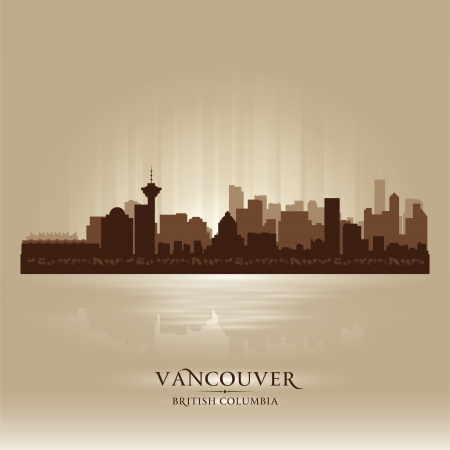 Vancouver British Columbia skyline city silhouette Vector illustration