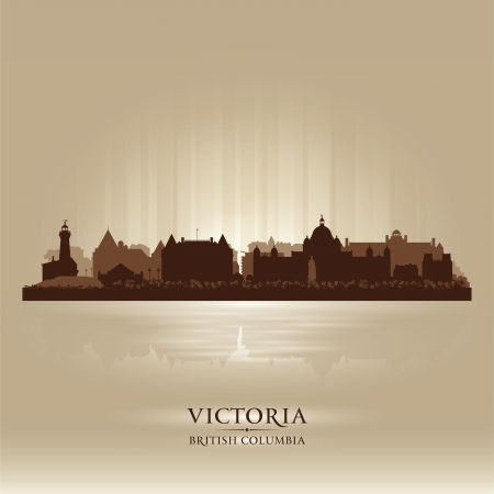 Victoria British Columbia skyline city silhouette  Vector illustration Stock Vector - 18386234
