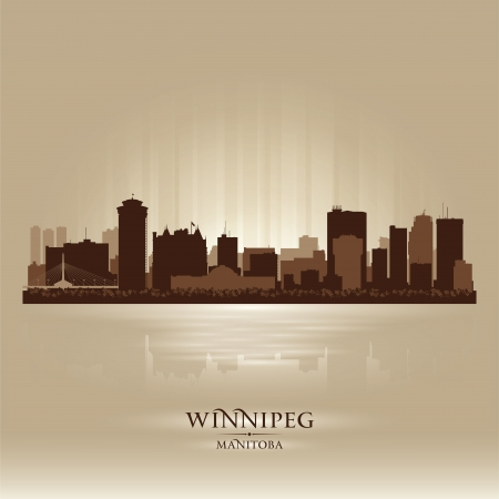 manitoba: Winnipeg Manitoba skyline city silhouette  Vector illustration