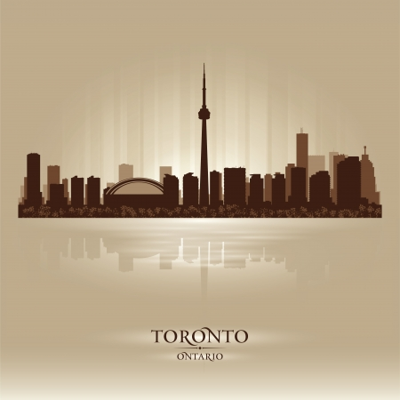 ontario: Toronto Ontario skyline city silhouette. Vector illustration