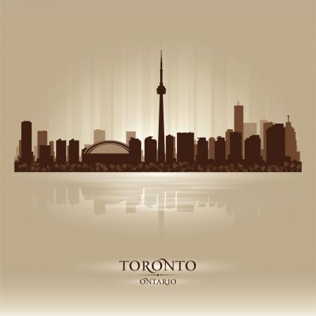 ontario: Toronto, Ontario skyline della citt� silhouette. Vector illustration