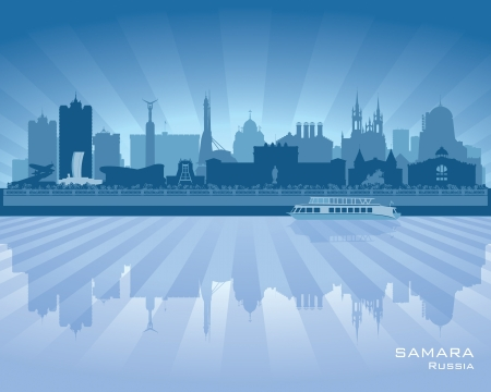 Samara Russia skyline city silhouette illustration Stock Vector - 18559052