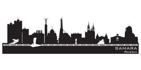 samara: Samara Russia city skyline Detailed silhouette.  Illustration