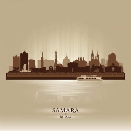 Samara Russia skyline city silhouette illustration Vector