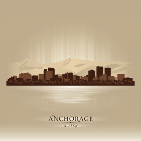 Anchorage Alaska city skyline silhouette. Vector illustration Stock Vector - 18670946