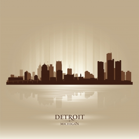 Detroit Michigan city skyline silhouette. Vector illustration Vector