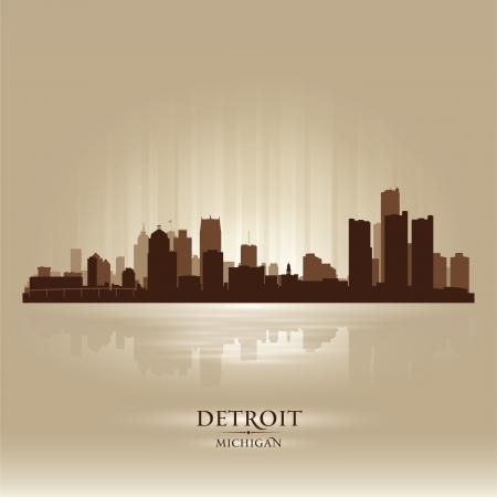 michigan state: Detroit Michigan city skyline silhouette. Vector illustration