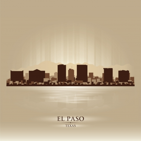 El Paso Texas city skyline silhouette. Vector illustration Vector