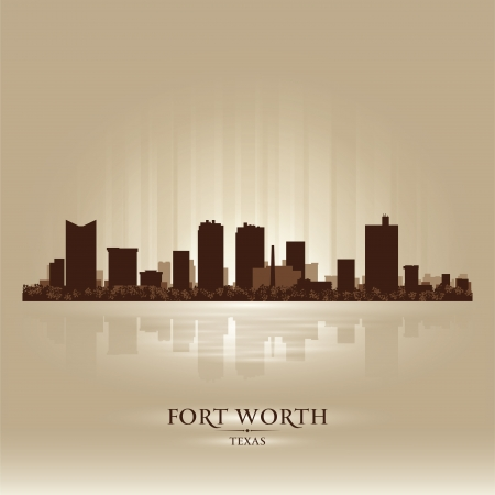 Fort Worth Texas city skyline silhouette. Vector illustration Vector