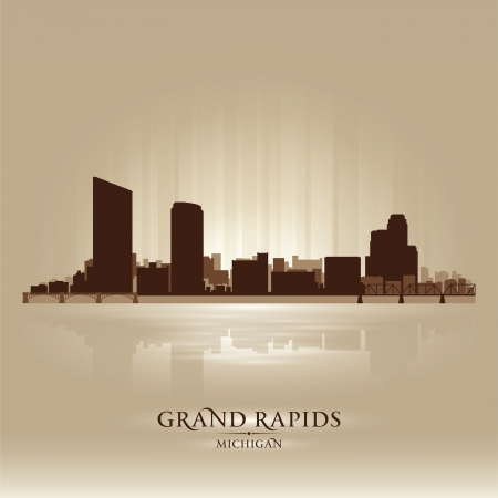 Grand Rapids Michigan city skyline silhouette. Vector illustration Vector