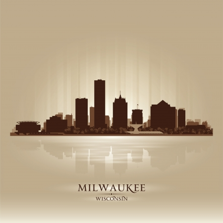 Milwaukee Wisconsin city skyline silhouette. Vector illustration Illustration