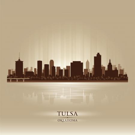 oklahoma: Tulsa Oklahoma city skyline silhouette. Vector illustration