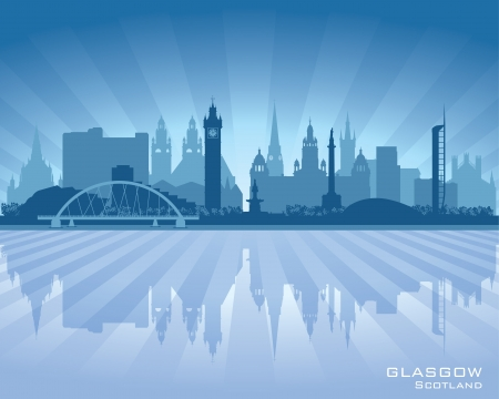 the great lakes: Glasgow Scotland skyline city silhouette illustration