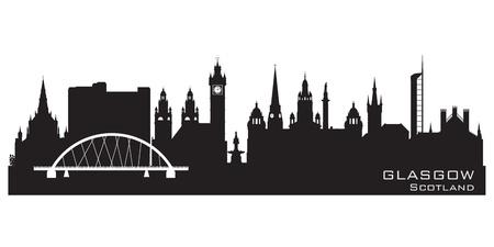 Glasgow Ecosse toits de la ville silhouette détaillée Vecteurs