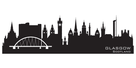 Glasgow Scotland skyline city Detailed silhouette