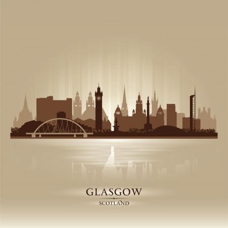 Glasgow Escocia horizonte de la ciudad ilustración silueta Ilustración de vector