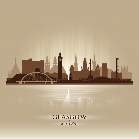 Glasgow Scotland skyline city silhouette illustration Stock Vector - 19027338