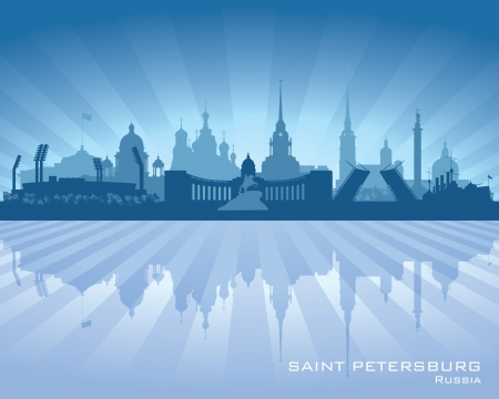 blue church: Saint Petersburg Russia city skyline silhouette.  Illustration
