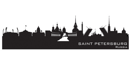 saint petersburg: Saint Petersburg Russia city skyline Detailed silhouette.