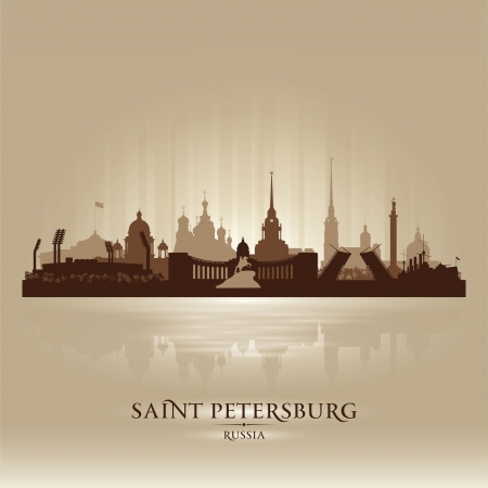 saint petersburg: Saint Petersburg Russia city skyline silhouette.  Illustration