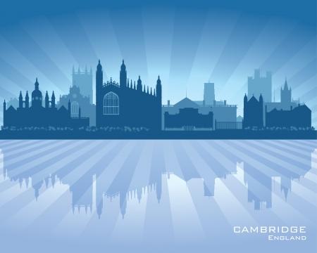 cambridge: Cambridge England city skyline silhouette.  Illustration