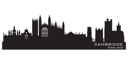 Cambridge England city skyline Detailed silhouette.  Vector