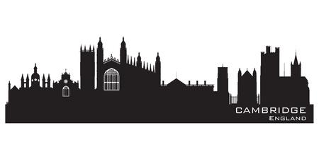 cambridge: Cambridge England city skyline Detailed silhouette.  Illustration
