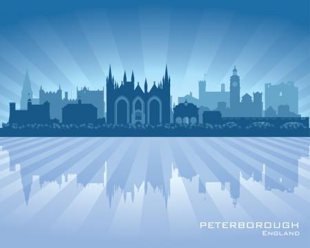 Peterborough England city skyline silhouette.  Stock Vector - 19370031