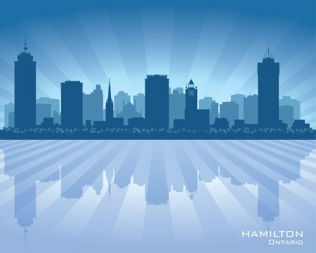ontario: Hamilton Canada skyline city silhouette illustration Illustration