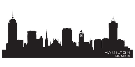 ontario: Hamilton, Canada skyline. Detailed silhouette illustration