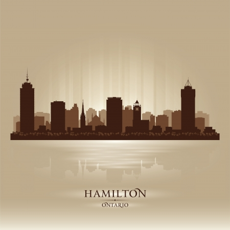 hamilton: Hamilton Canada skyline city silhouette illustration Illustration
