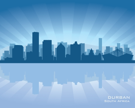 Durban South Africa city skyline silhouette illustration Stock Vector - 19900124