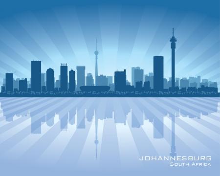 Johannesburg South Africa city skyline silhouette illustration Vector