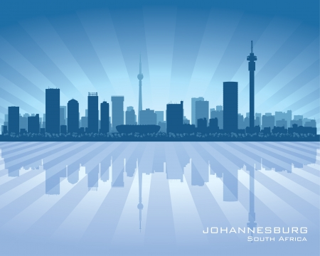 scraper: Johannesburg South Africa city skyline silhouette illustration Illustration