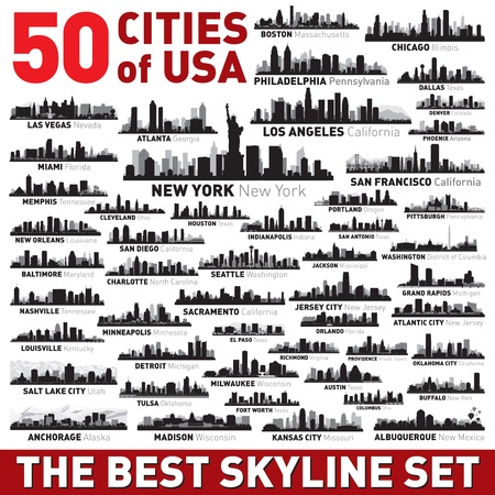 Super city skyline set  50 vector city silhouettes of USA