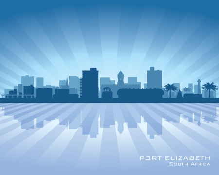 Port Elizabeth South Africa city skyline silhouette  Vector illustration