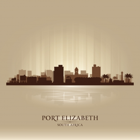 port: Port Elizabeth  South Africa city skyline silhouette  Vector illustration