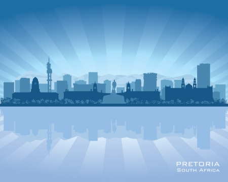 waterfront: Pretoria South Africa city skyline silhouette  Vector illustration